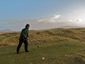 Golfer on Askernish Old course
